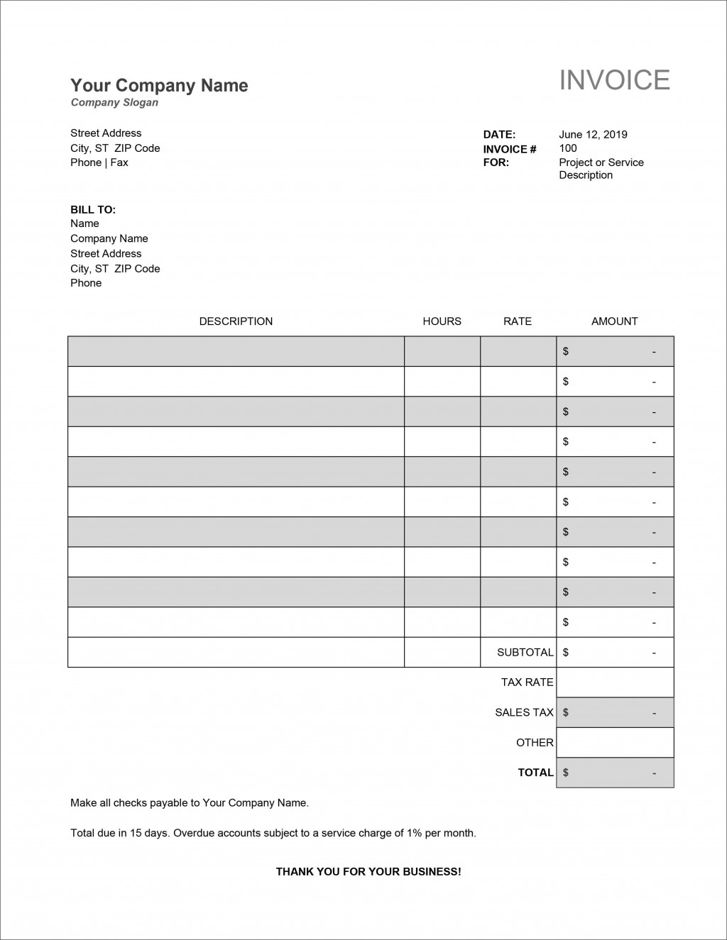 007 Unforgettable Service Invoice Template Free Picture  Rendered Word Auto DownloadLarge