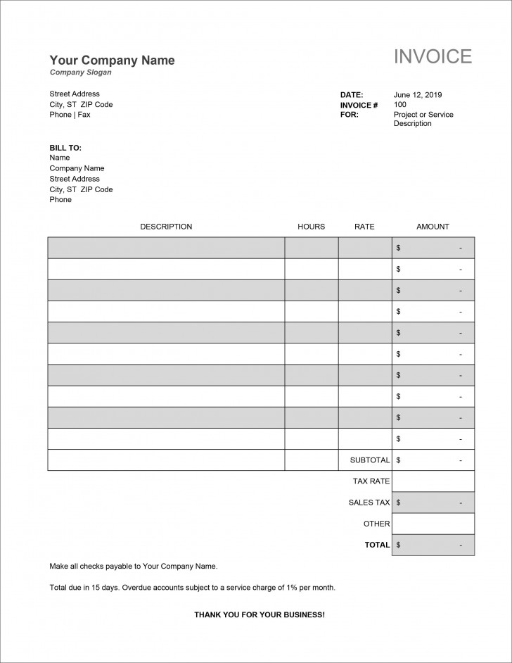 007 Unforgettable Service Invoice Template Free Picture  Rendered Word Auto Download728