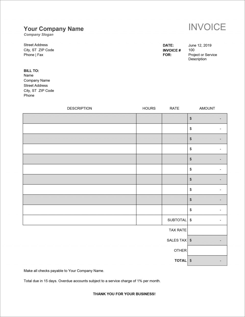 007 Unforgettable Service Invoice Template Free Picture  Rendered Word Auto Download960