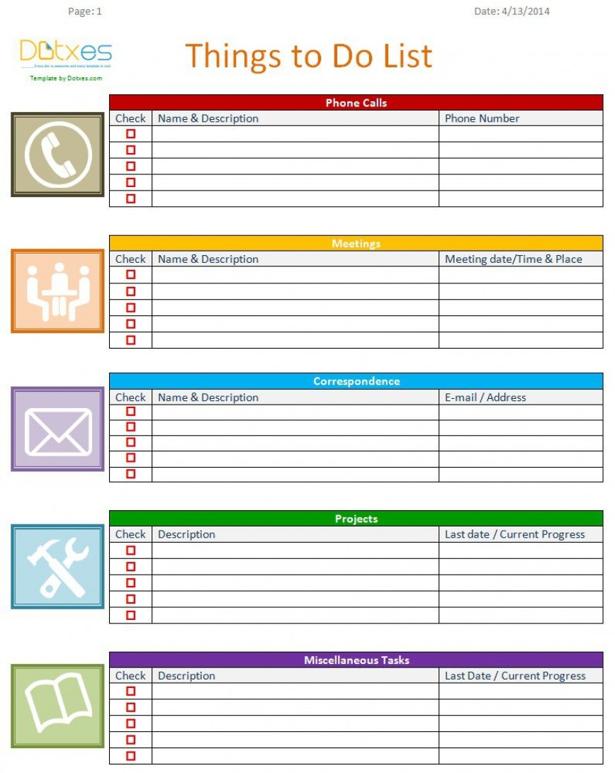 007 Unforgettable To Do List Template Word Example