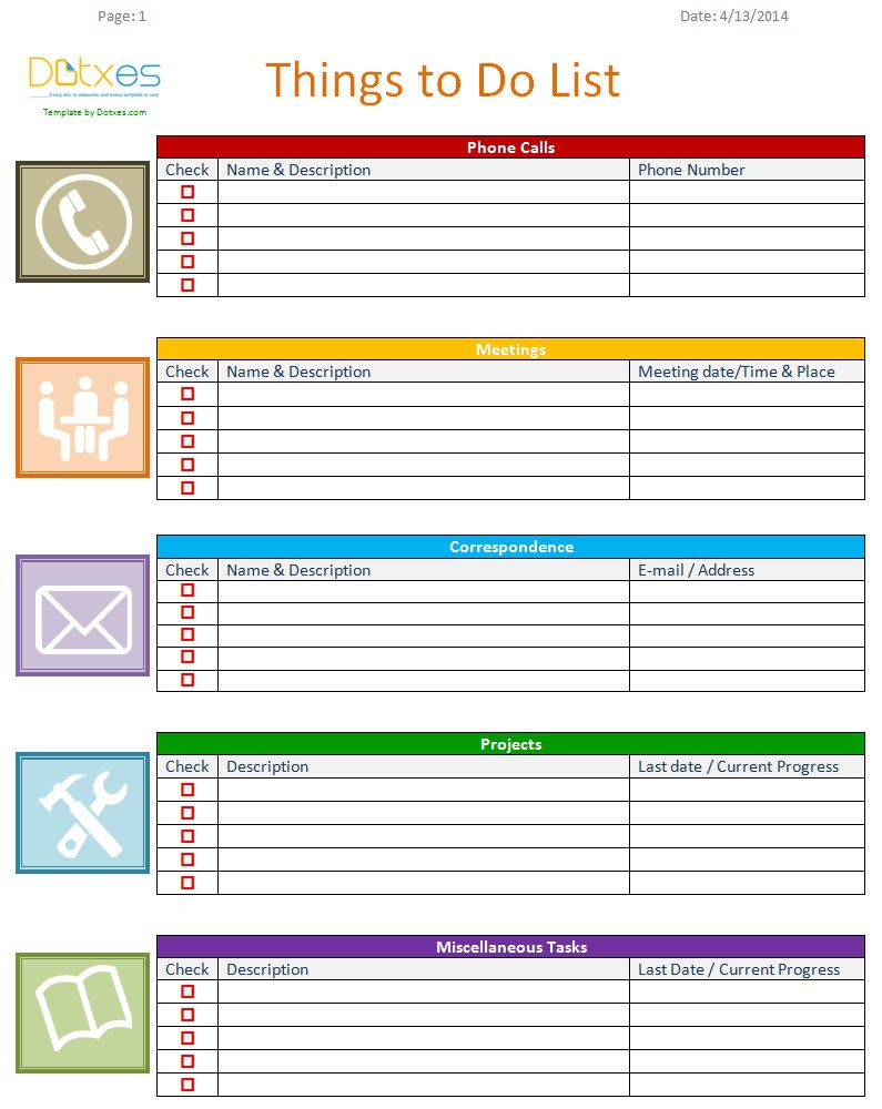 007 Unforgettable To Do List Template Word Example Full