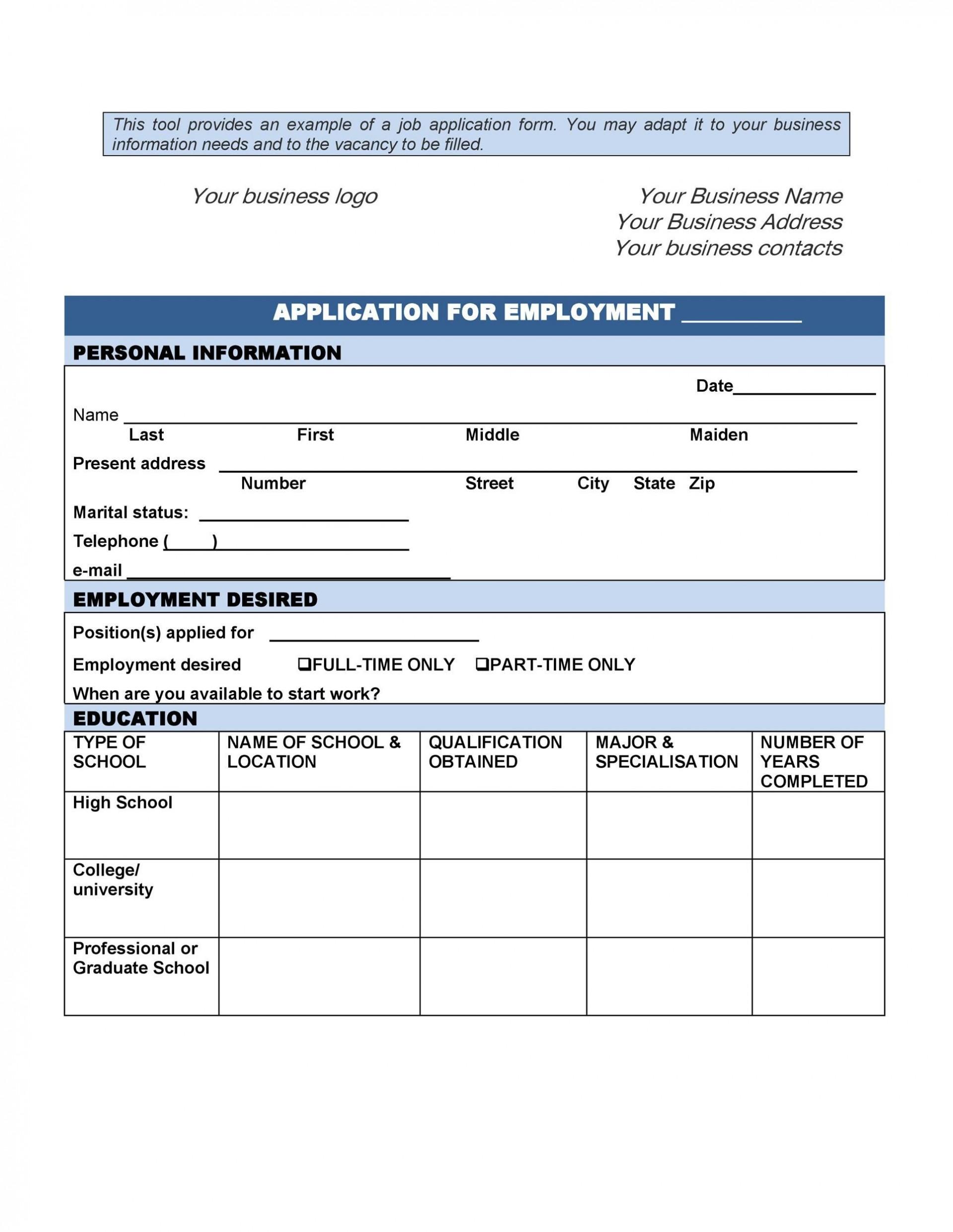 Employment Application Template Microsoft Word Addictionary