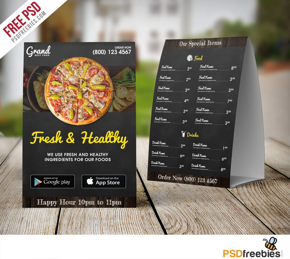 007 Unique Food Menu Card Template Free Download Image Full