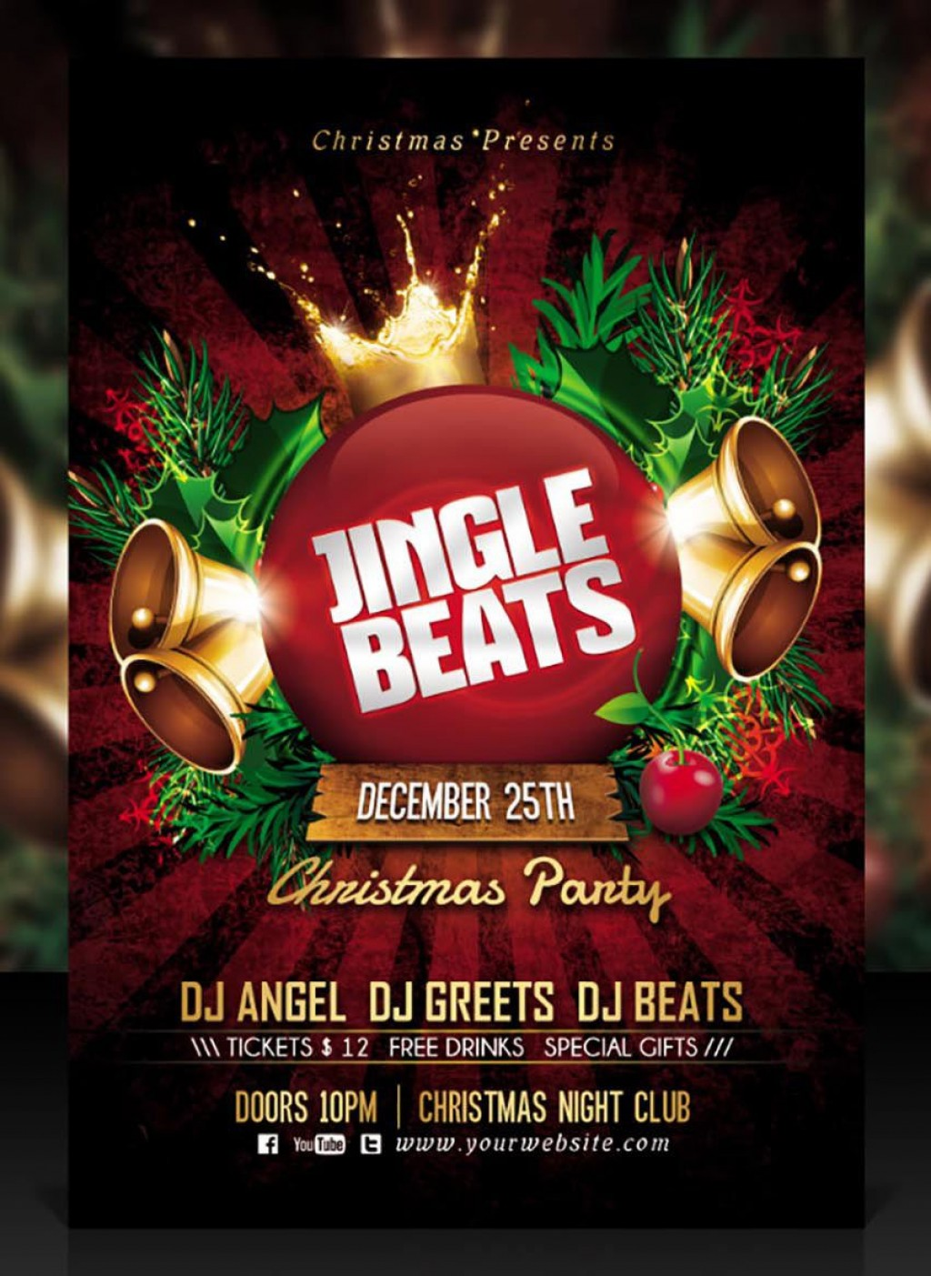 007 Unique Holiday Party Flyer Template Free Idea  OfficeLarge
