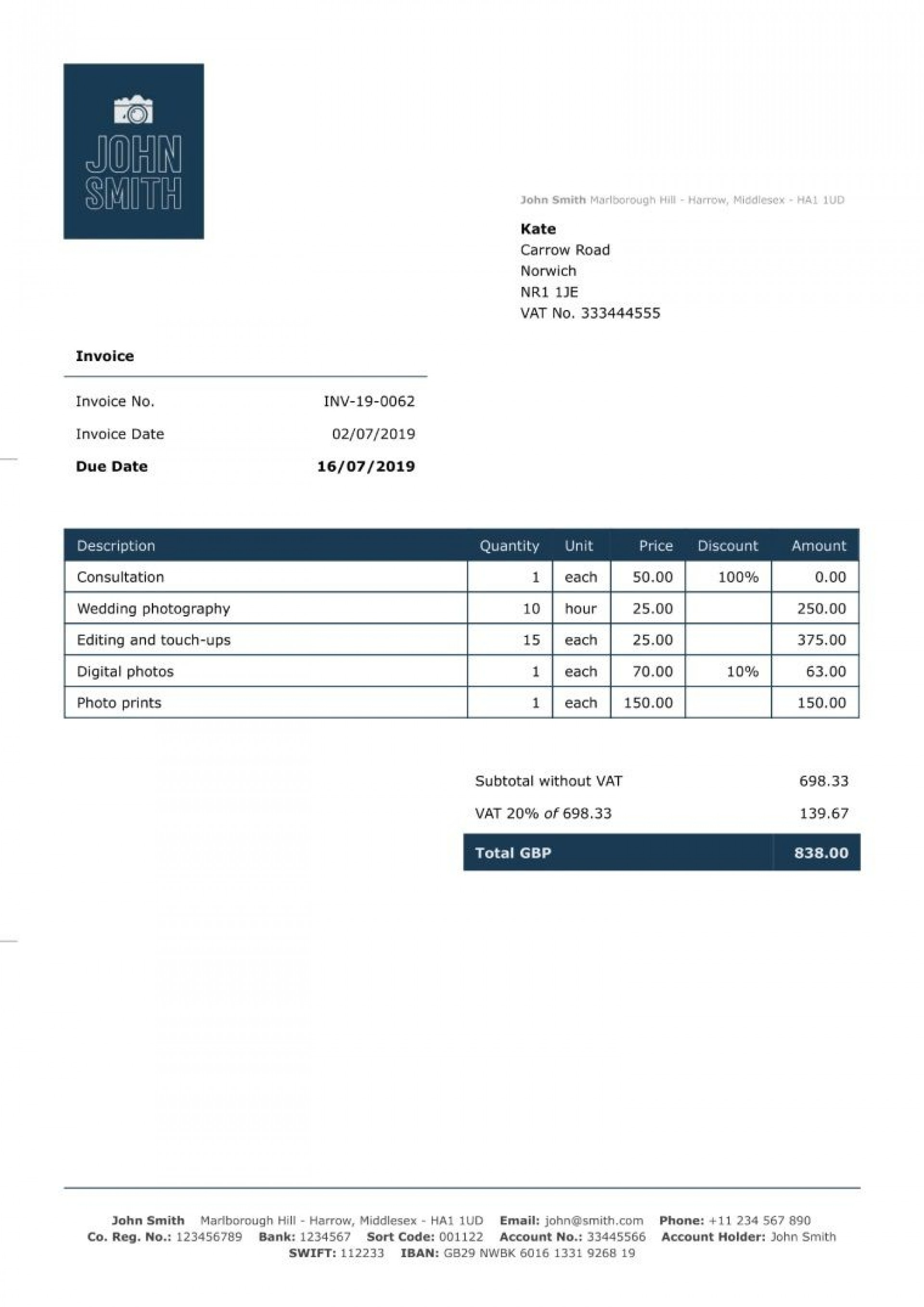 007 Unique Invoice Template Uk Freelance Highest Quality  Example Sample Word1920