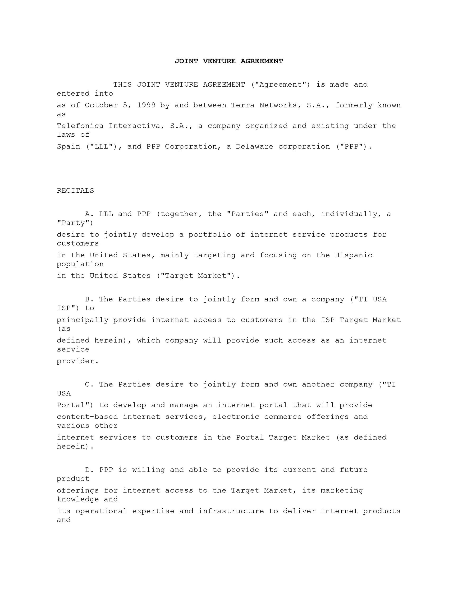 007 Unique Joint Venture Agreement Template Free South Africa High Resolution  DownloadFull