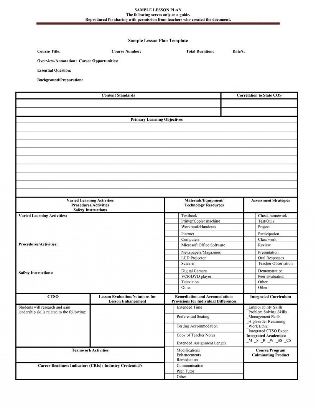 007 Unique Lesson Plan Outline Template High Resolution  Sample Format Pdf Blank Free PrintableLarge
