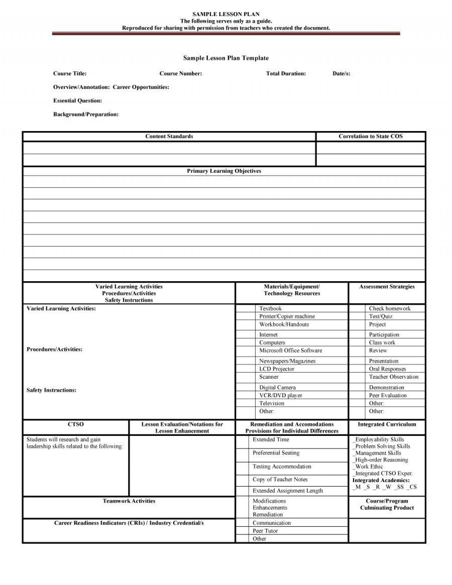007 Unique Lesson Plan Outline Template High Resolution  Sample Format Pdf Blank Free Printable1920