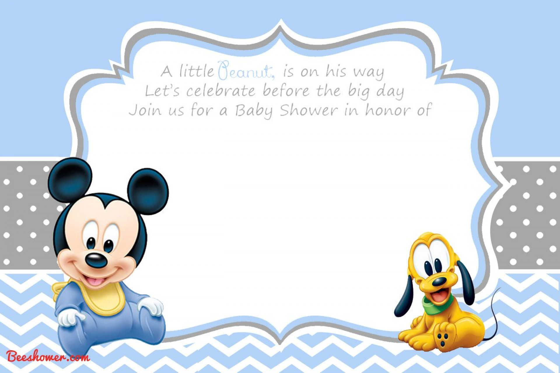 007 Unique Mickey Mouse Invitation Template Picture  Free Diy 1st Birthday Baby Download1920