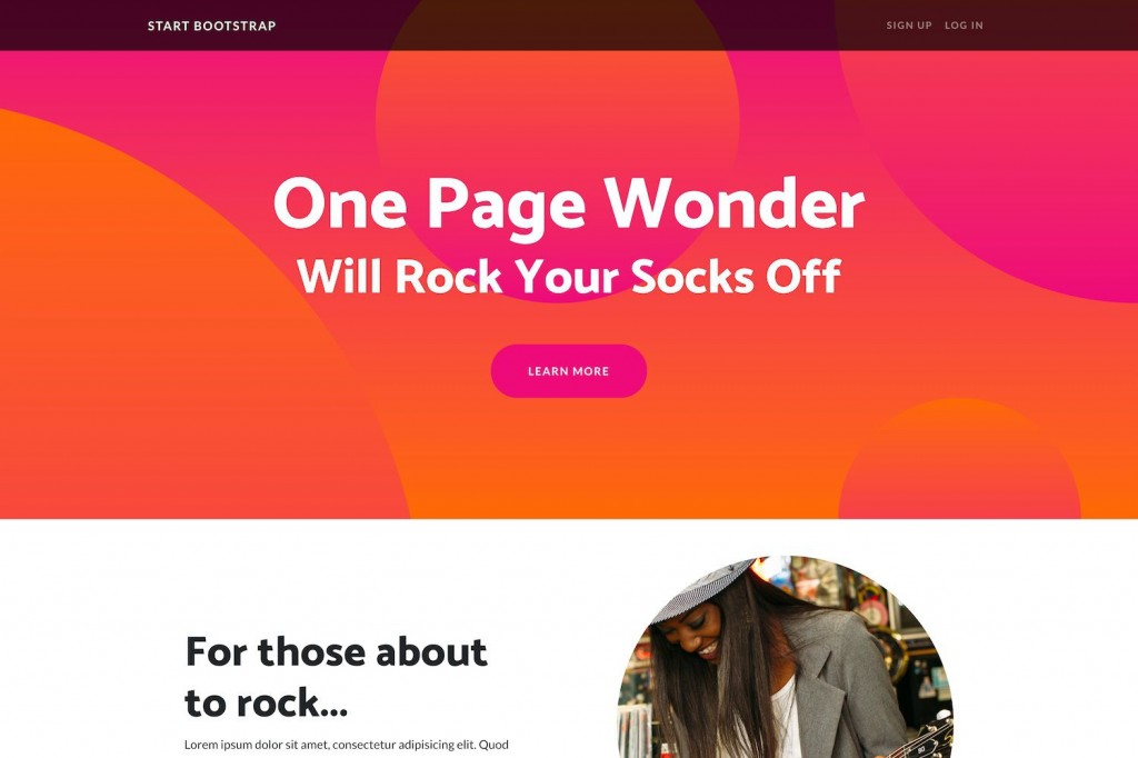 007 Unique One Page Website Template Free Highest Quality  Bootstrap 4 Html5 Download WordpresLarge