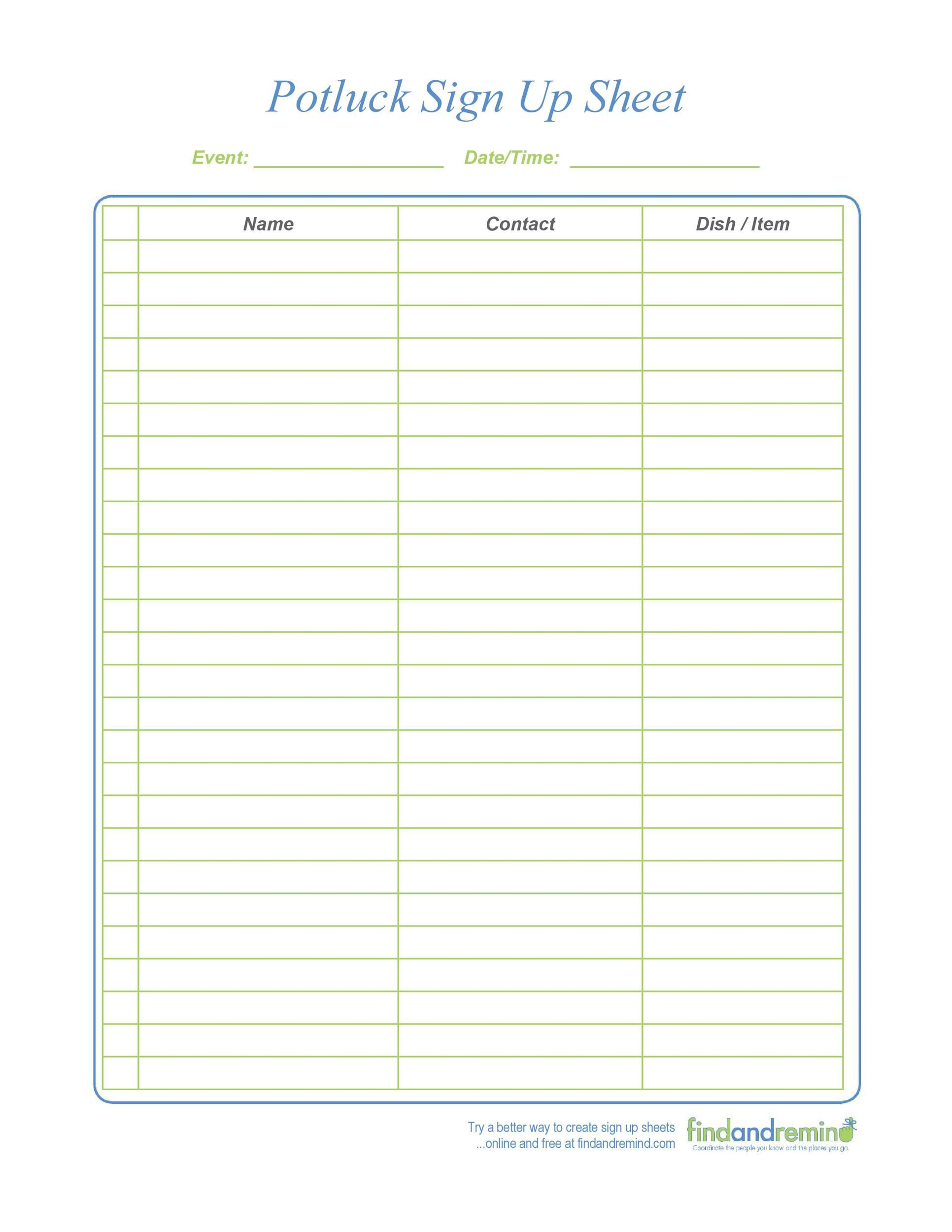 007 Unique Potluck Sign Up Sheet Template Image  Pdf Google Doc Free PrintableFull