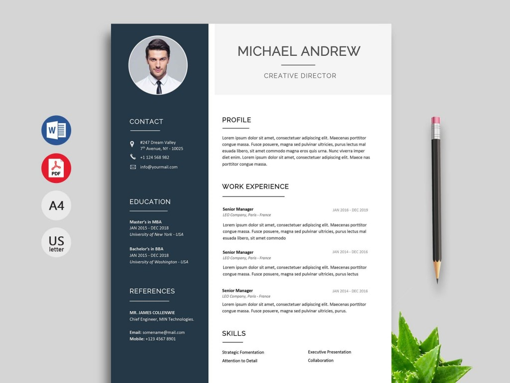 007 Unique Professional Resume Template Word Free Download Idea  Cv 2020 With PhotoLarge