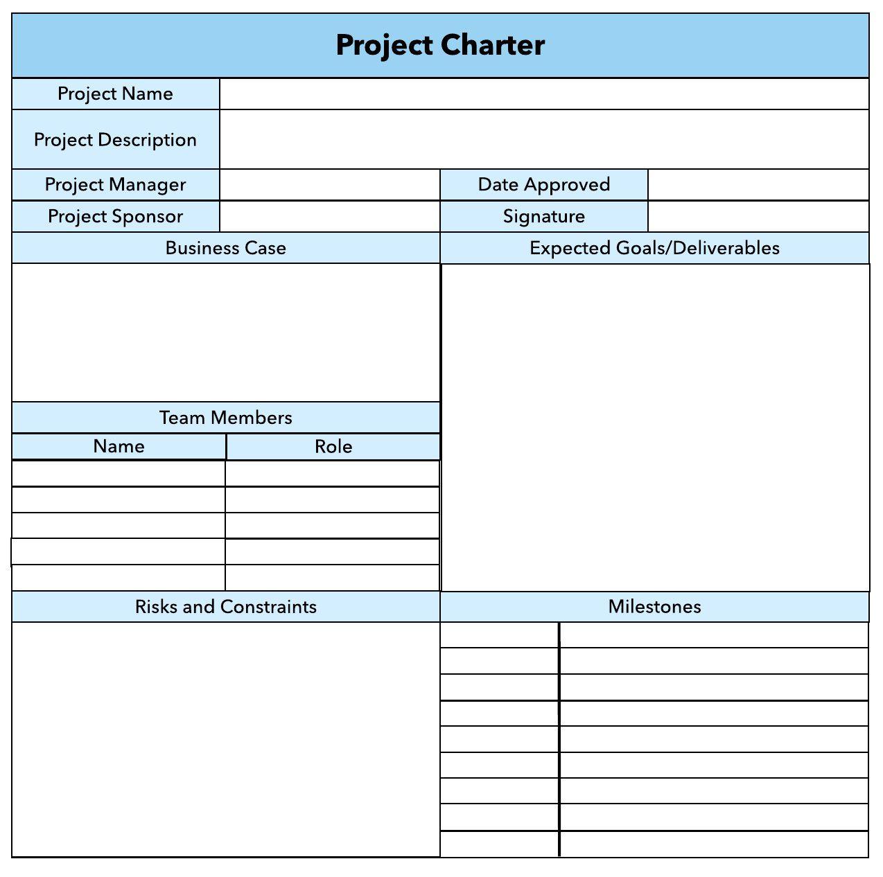 007 Unique Project Charter Template Excel Photo  Lean Pmbok NederlandFull