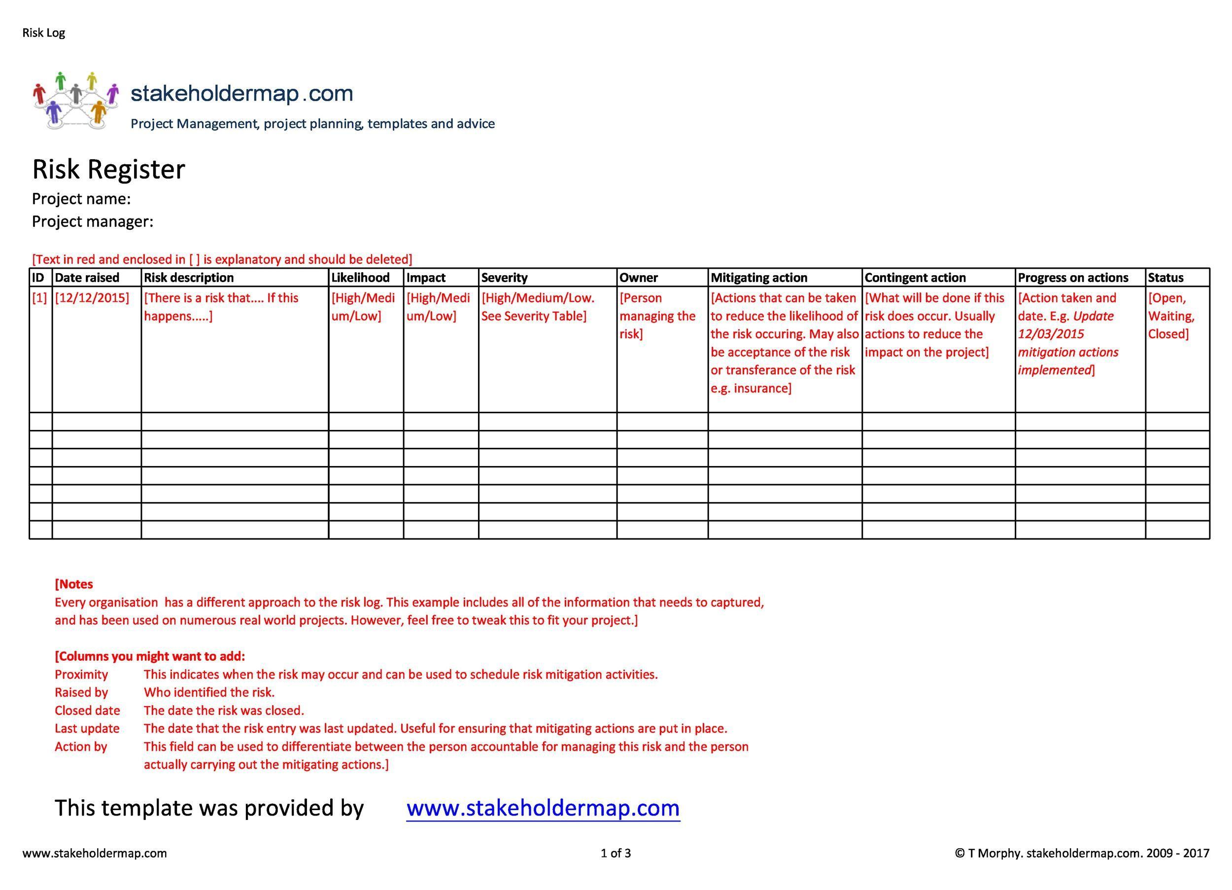 007 Unique Project Risk Management Plan Template Excel Free Concept Full