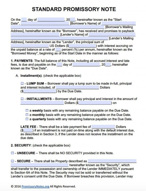 007 Unique Promissory Note Template Word High Def  Form Document Free Sample480