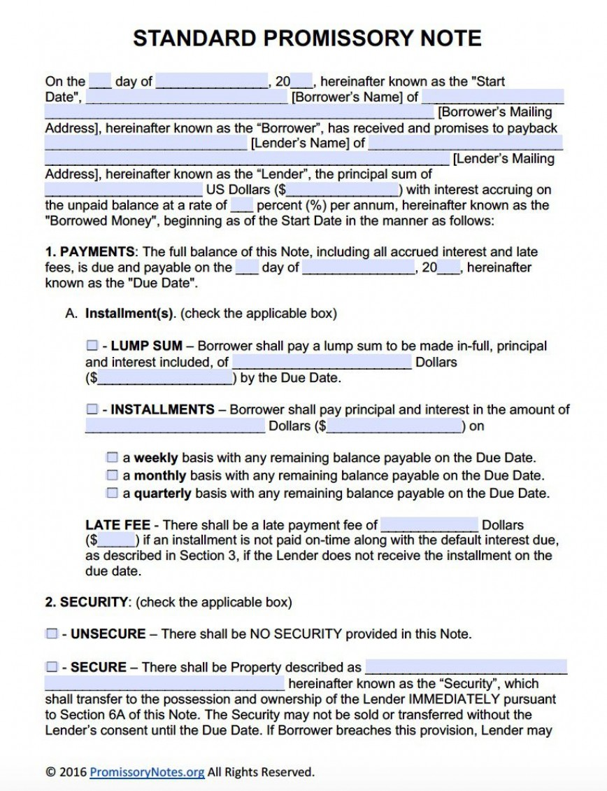 007 Unique Promissory Note Template Word High Def  Form Document Free Sample868