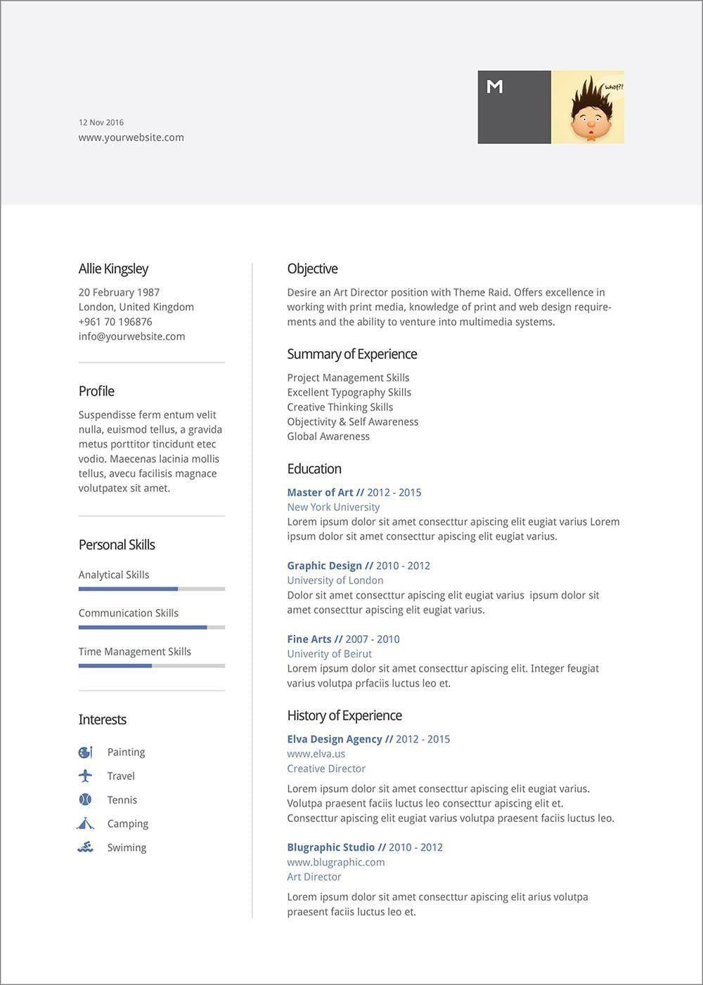 007 Unique Resume Template Word 2016 Design  Cv ProfessionalFull