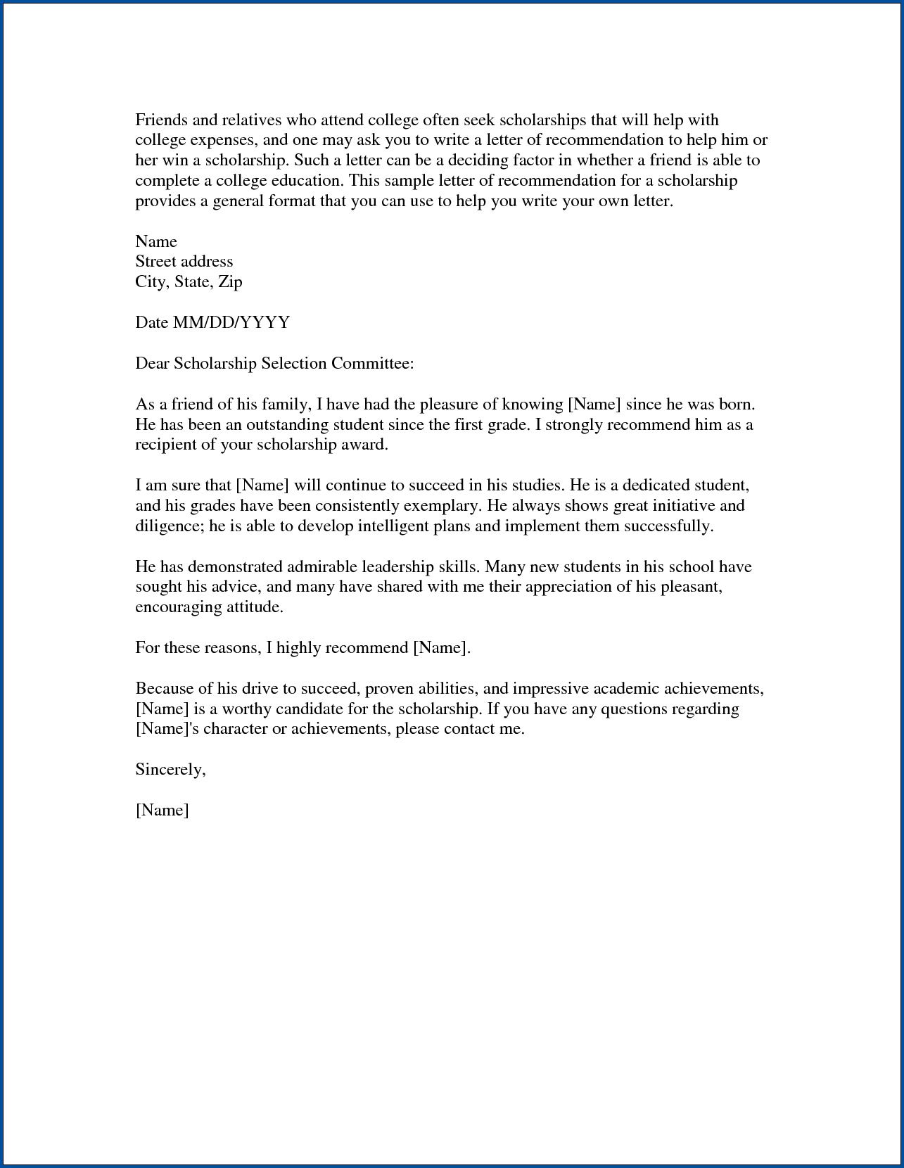 Example Of Recommendation Letter For Scholarship from www.addictionary.org