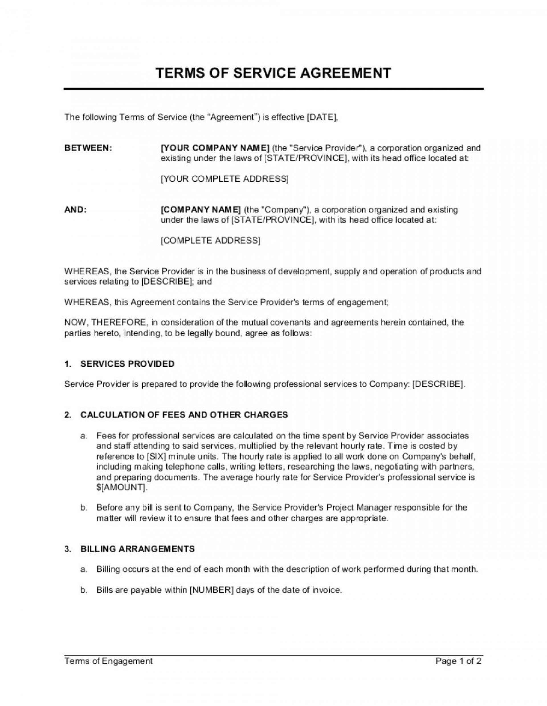 007 Unique Term Of Agreement Template Sample  Service Contract Busines Uk1920