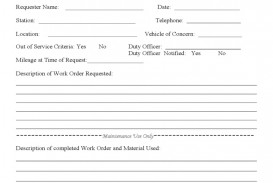007 Unique Work Order Form Template Sample  Request Excel Advertising Company Free