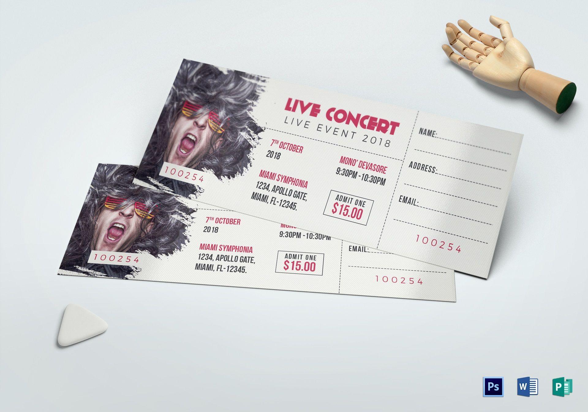 007 Unusual Concert Ticket Template Word Idea  Free Microsoft1920