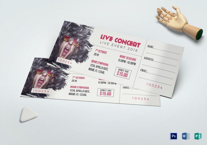 007 Unusual Concert Ticket Template Word Idea  Microsoft Free Download