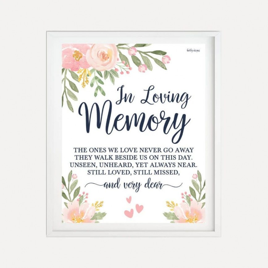 007 Unusual In Loving Memory Template Highest Quality  Picture Free Download