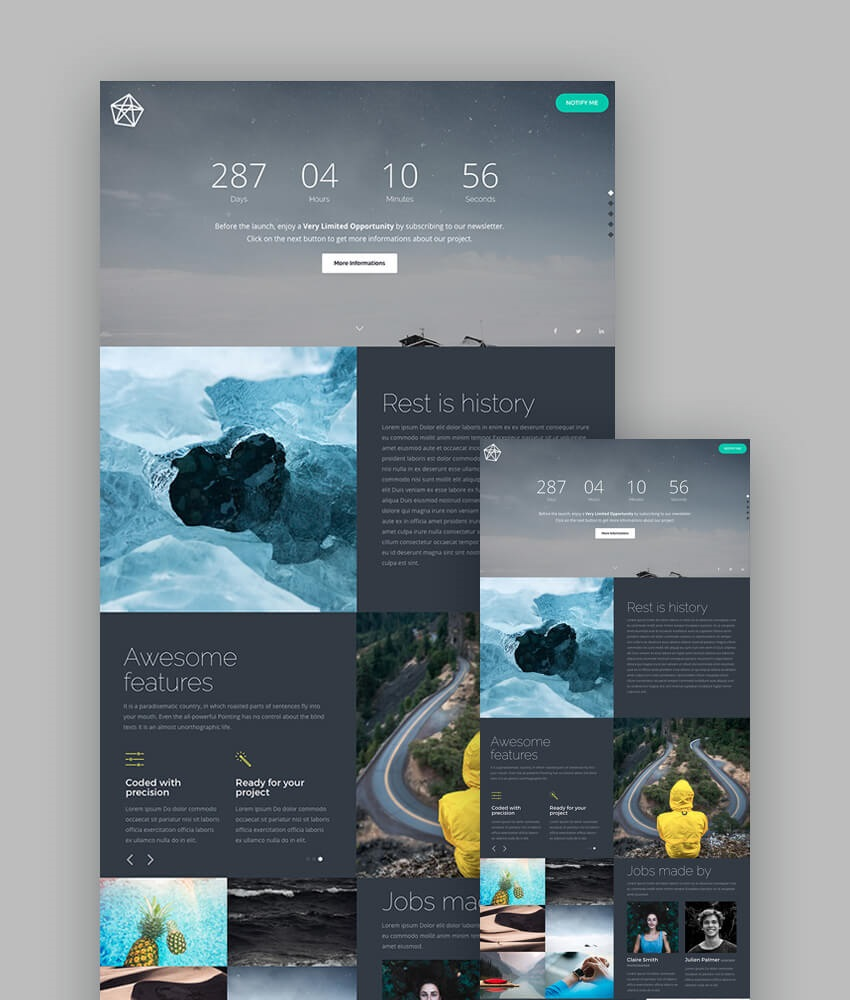 007 Unusual Responsive Landing Page Template Inspiration  Free Html With Flexbox Html5Full