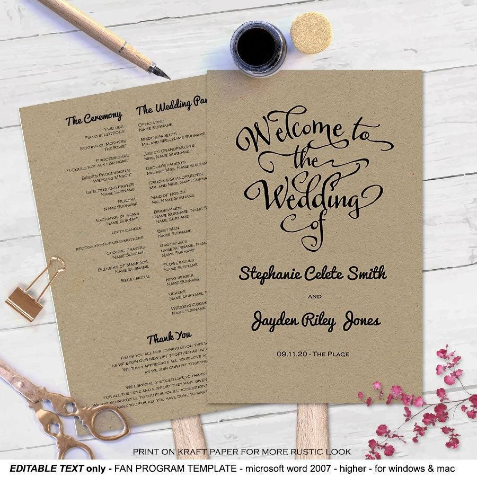 007 Unusual Wedding Program Fan Template Example  Free Word Paddle Downloadable That Can Be Printed1920