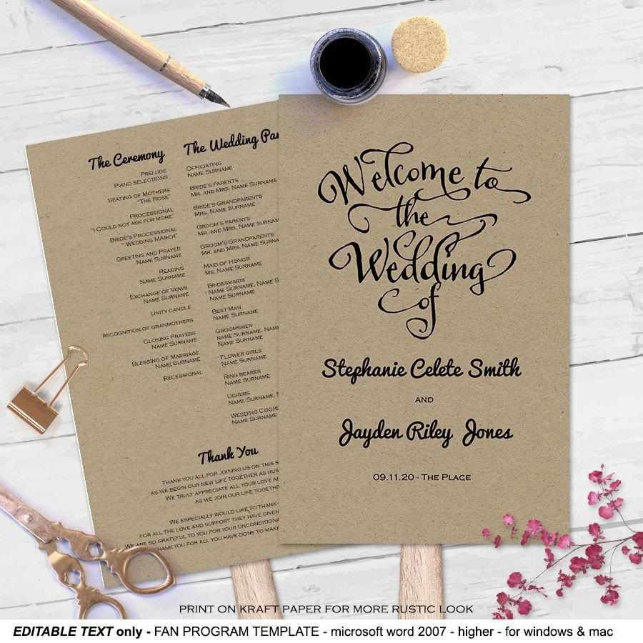 007 Unusual Wedding Program Fan Template Example  Free Word Paddle Downloadable That Can Be PrintedFull
