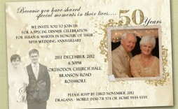 007 Wonderful 50th Wedding Anniversary Invitation Template Sample  Templates Golden Uk Free Download