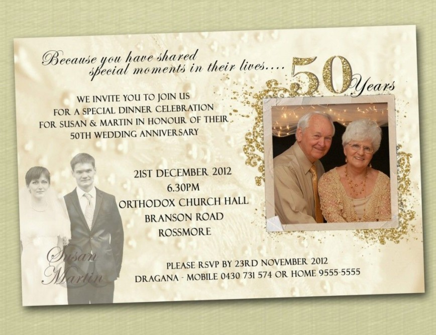 007 Wonderful 50th Wedding Anniversary Invitation Template Sample  Templates Free Printable Golden Download