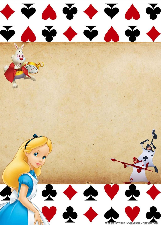 007 Wonderful Alice In Wonderland Birthday Party Invitation Printable Free Design Large