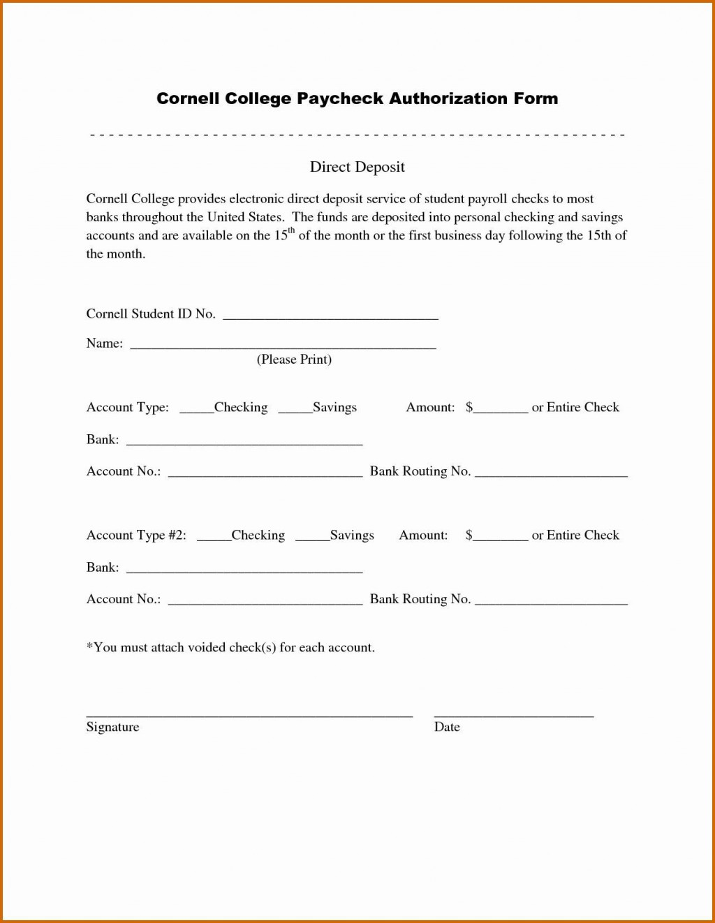007 Wonderful Direct Deposit Agreement Authorization Form Template High Resolution Large