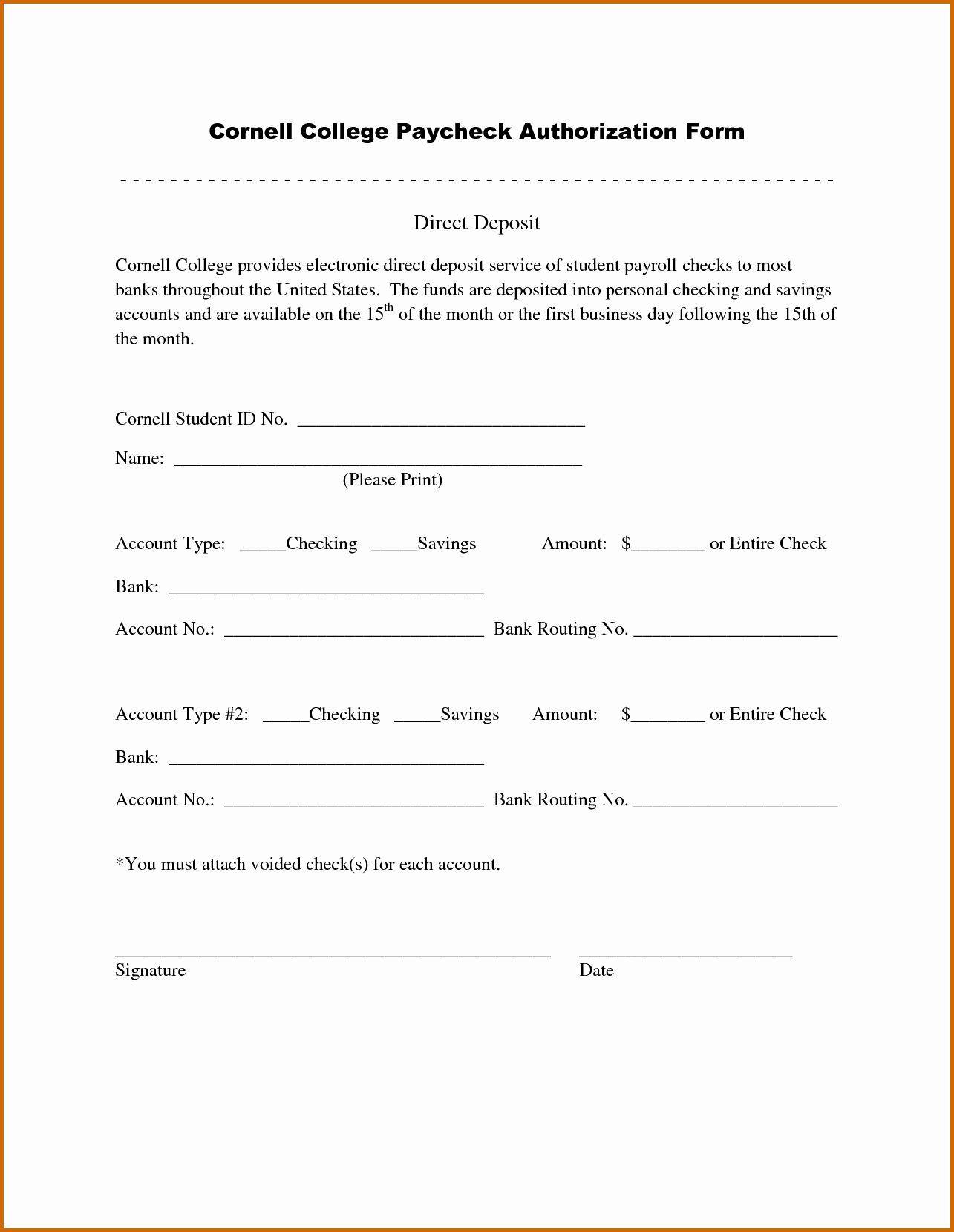 007 Wonderful Direct Deposit Agreement Authorization Form Template High Resolution Full