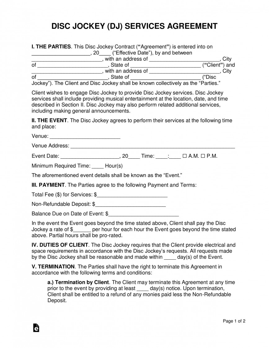 007 Wonderful Disc Jockey Contract Template Photo  Form Disk