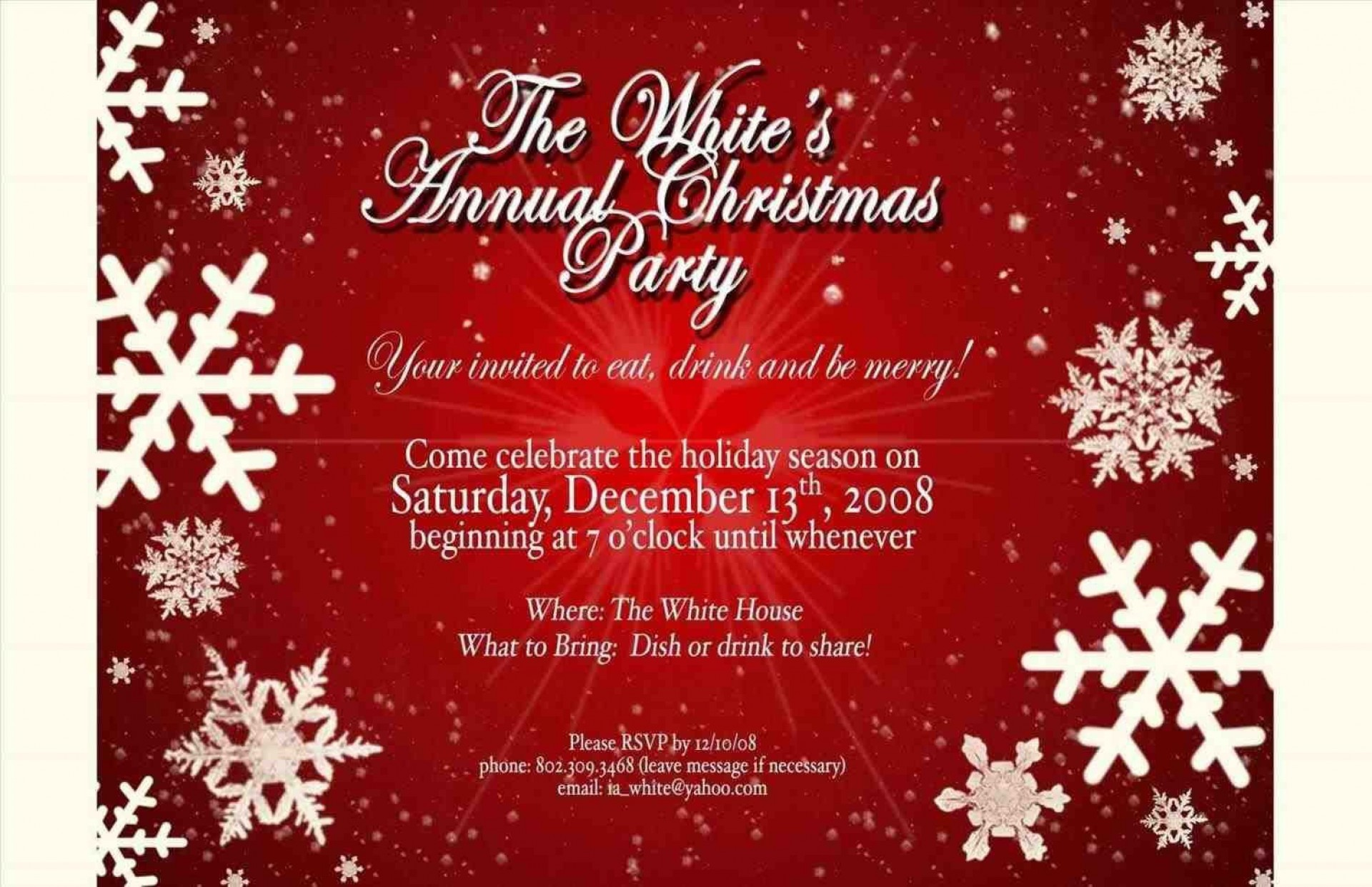 007 Wonderful Free Email Holiday Party Invitation Template High Resolution  Templates Christma1920