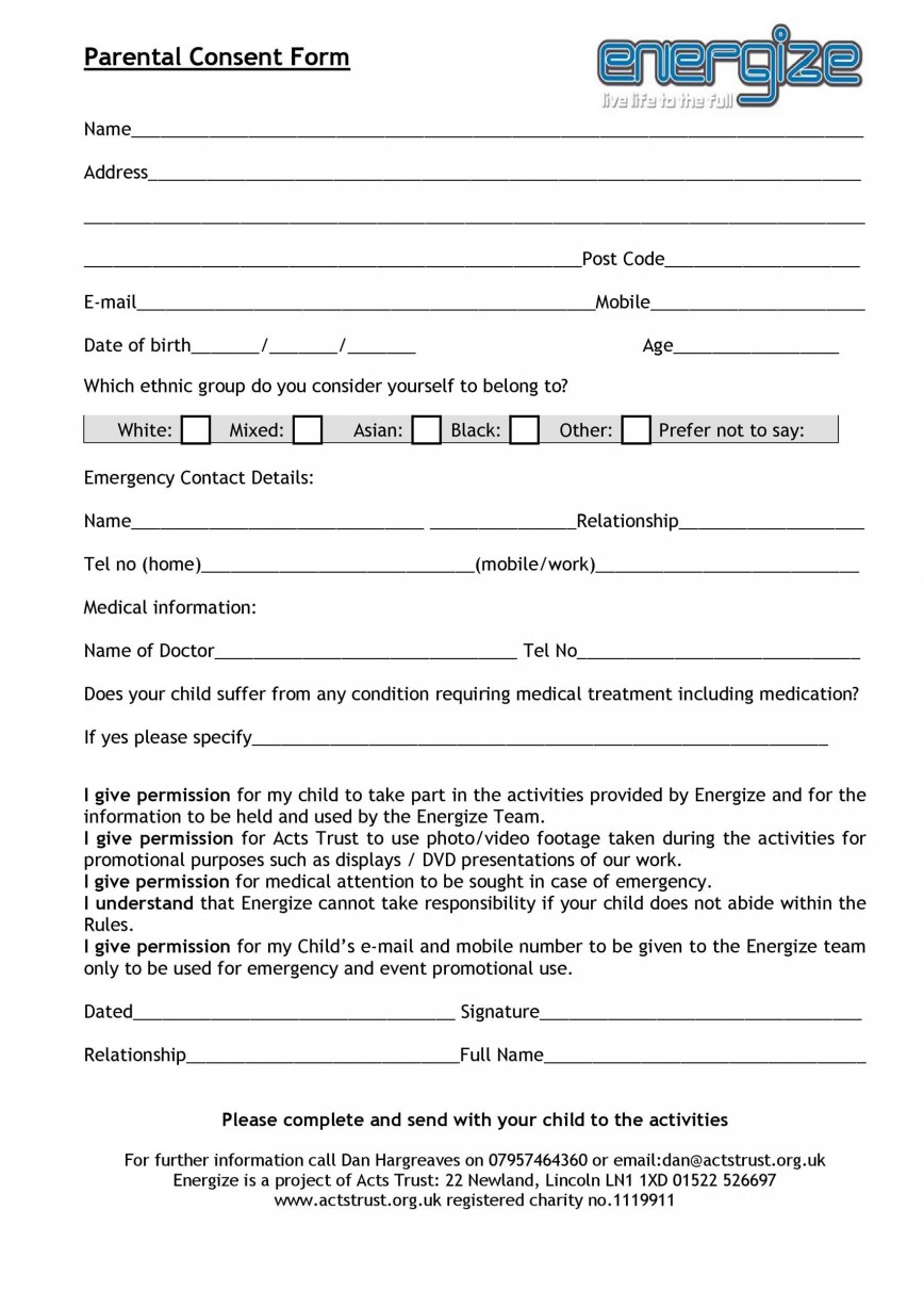 007 Wonderful Free Parental Medical Consent Form Template Design 868