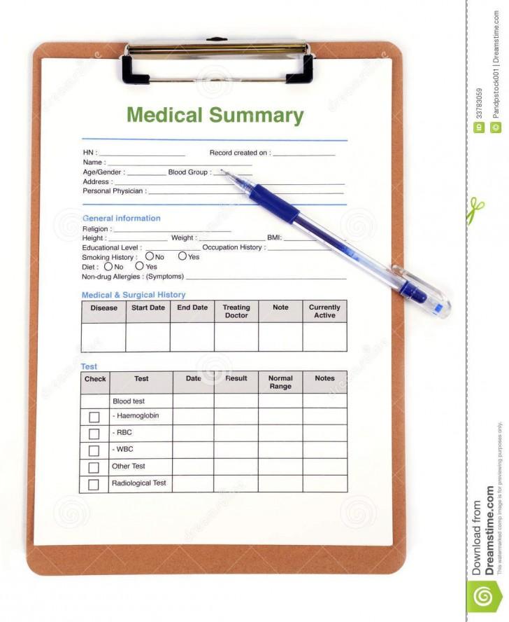 007 Wonderful Personal Medical History Template Download Sample 728