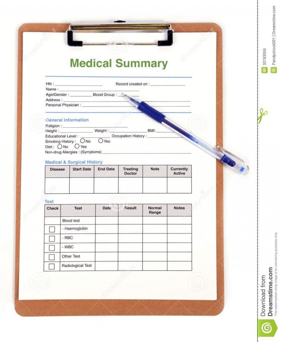 007 Wonderful Personal Medical History Template Download Sample 960