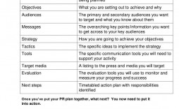 007 Wonderful Public Relation Strategy Plan Template Idea  Example