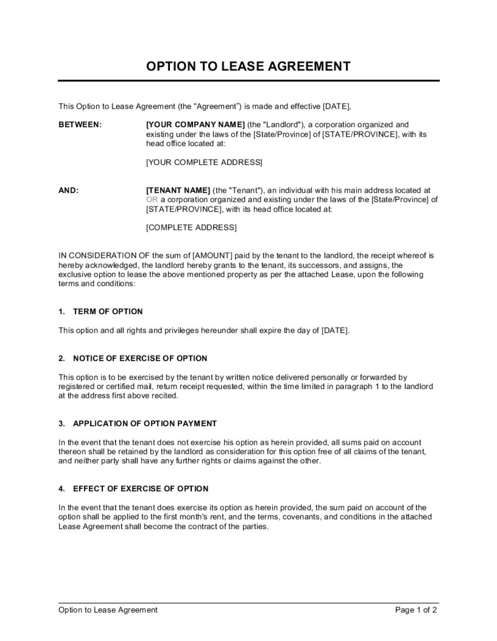 007 Wonderful Rent To Own Template Sample  Lease Agreement Canada ExampleFull