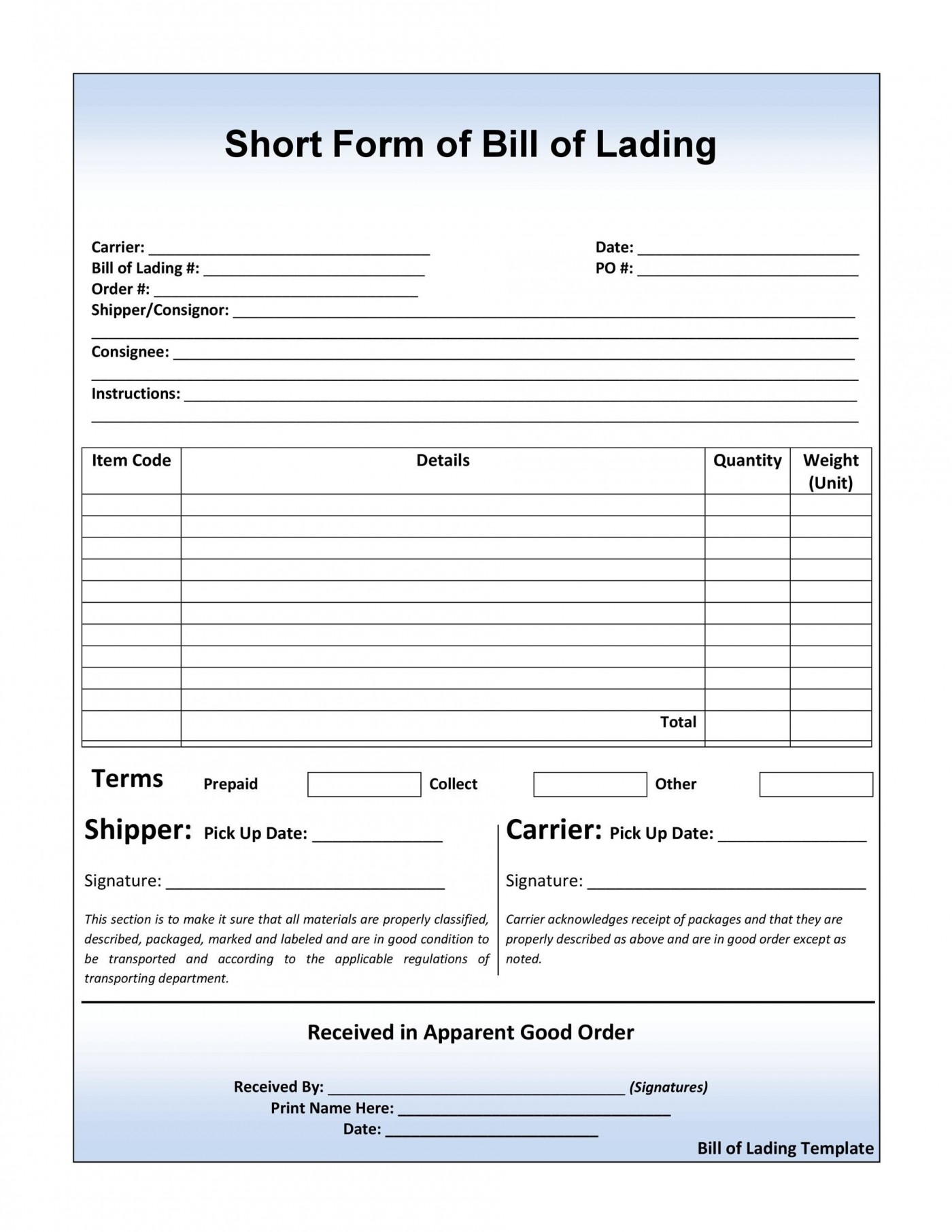 007 Wonderful Straight Bill Of Lading Template High Resolution  Form Pdf Word Short1400