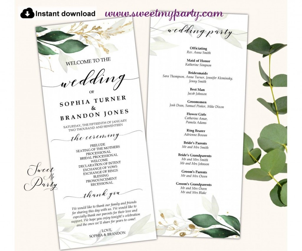 007 Wonderful Wedding Order Of Service Template Pdf High Definition Large