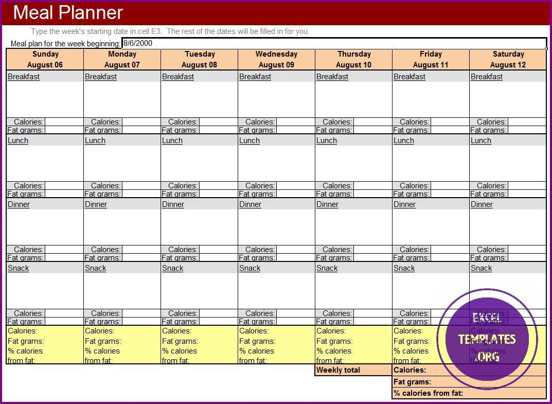 007 Wonderful Weekly Meal Planner Template Excel Example  Downloadable Plan EditableFull