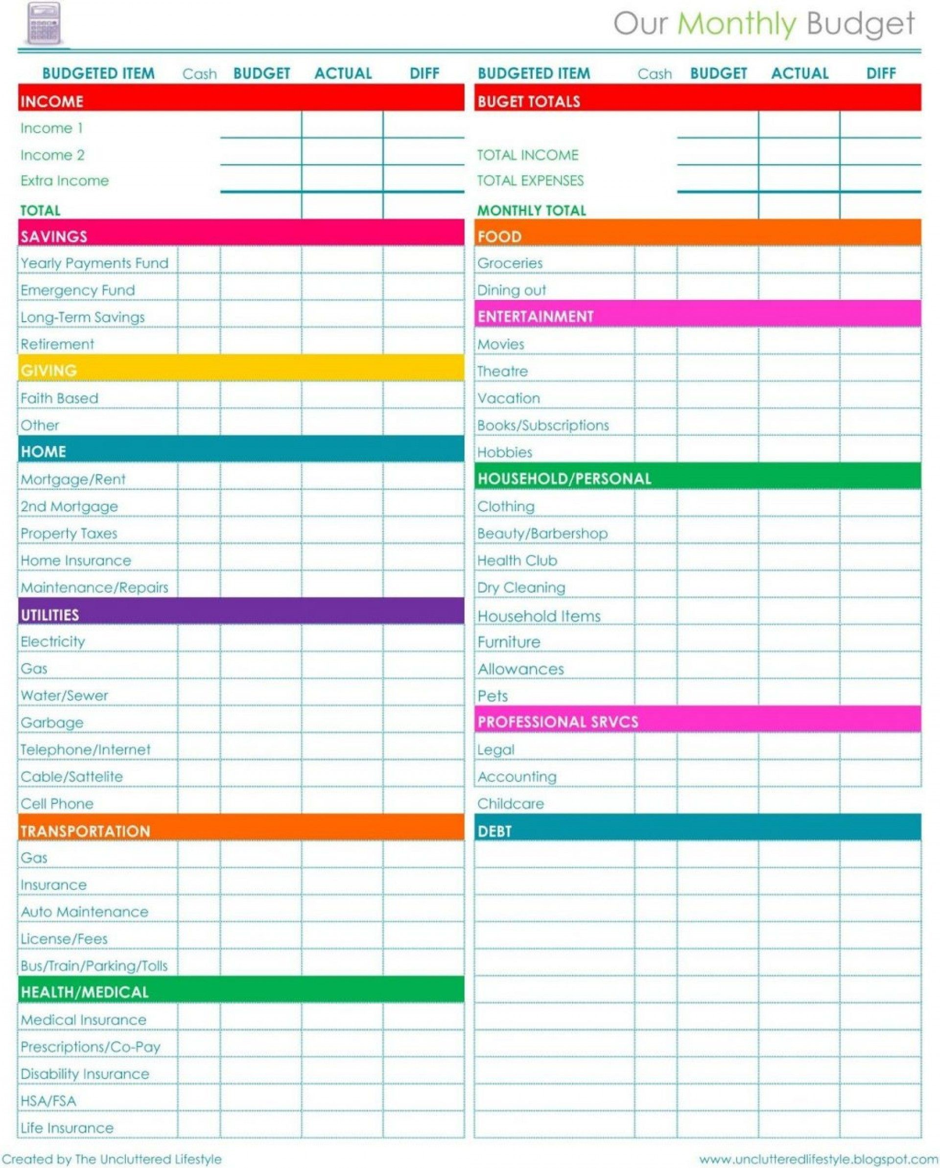 007 Wondrou Free Printable Monthly Budget Sheet Example  Sheets Editable Template Blank Worksheet Household1920
