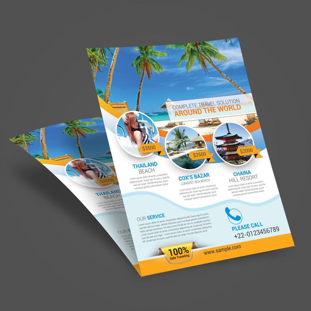007 Wondrou Free Travel Flyer Template Download Concept Large