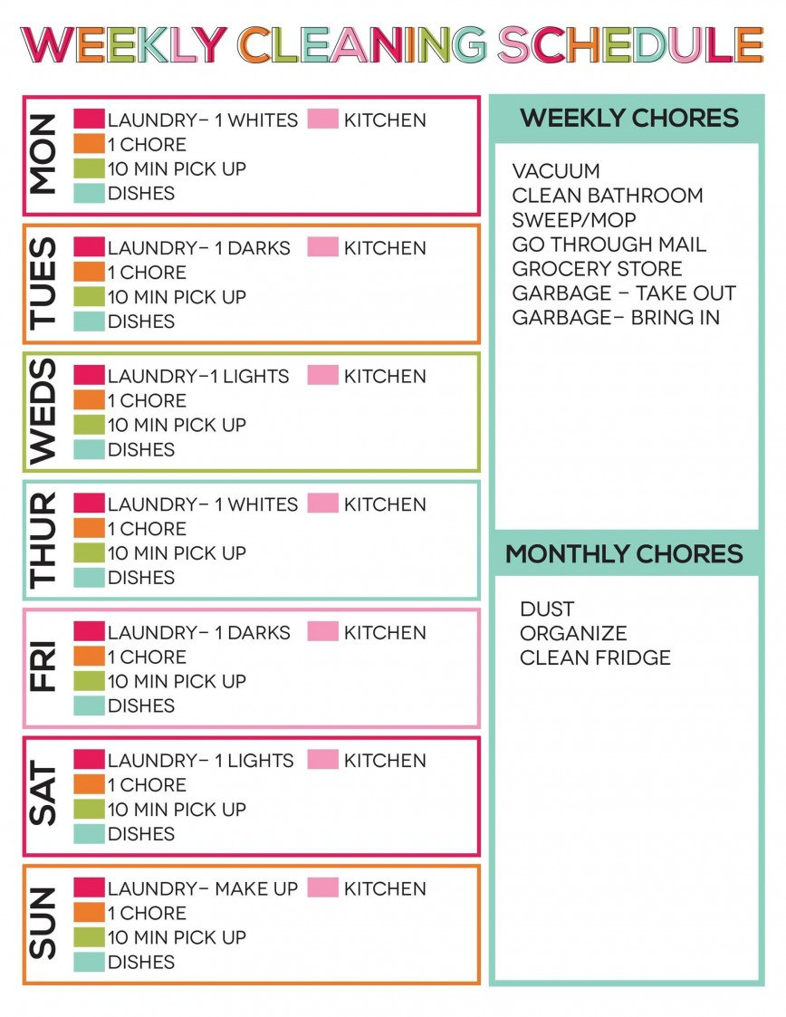 House Cleaning Schedule Template Addictionary