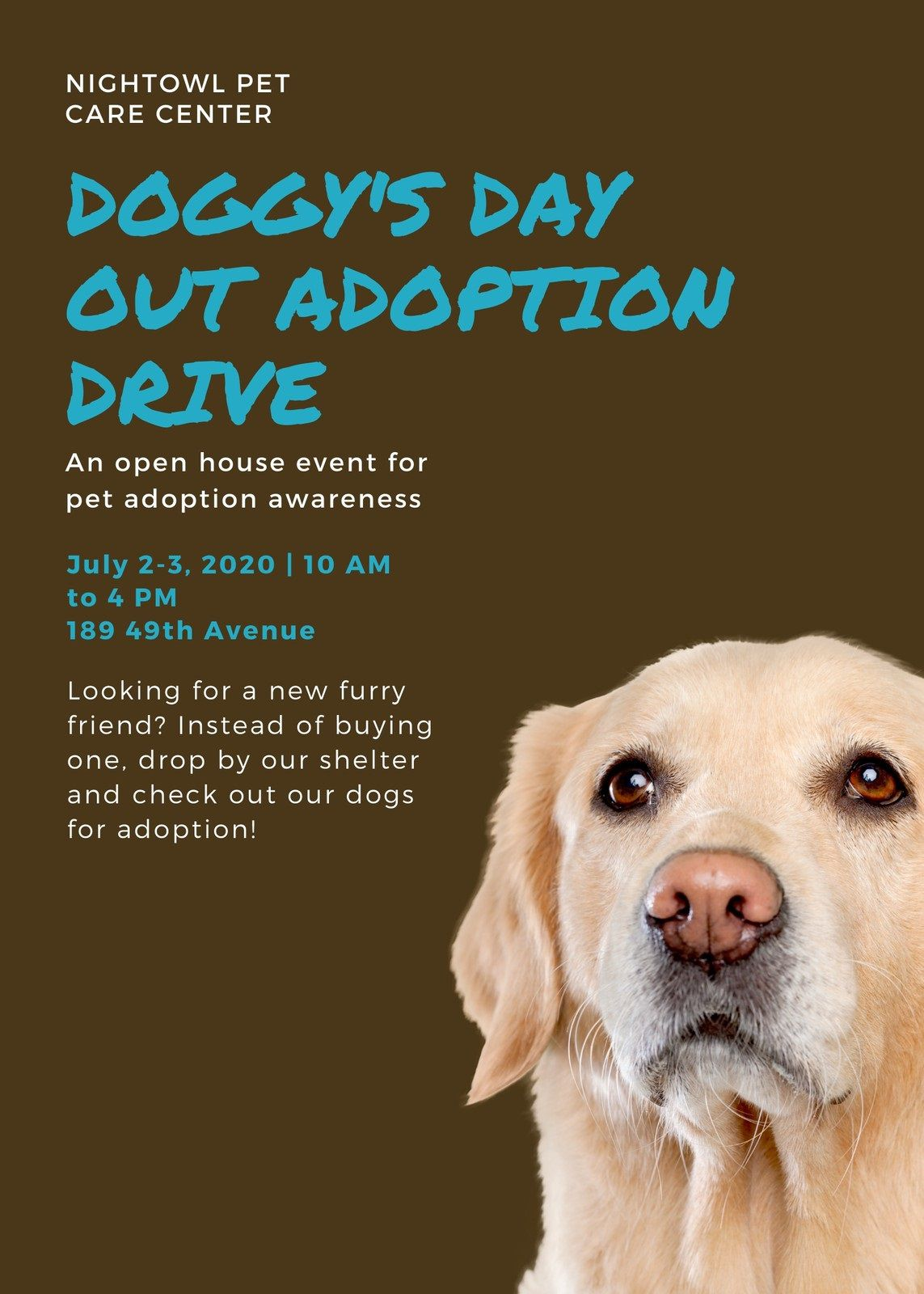 007 Wondrou Pet Adoption Flyer Template Picture  Free Event DogFull