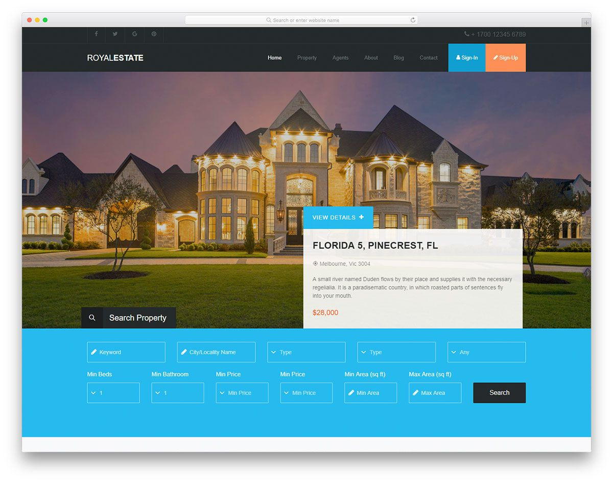 007 Wondrou Real Estate Agent Website Template Sample  Templates Agency Responsive Free Download Company WebFull